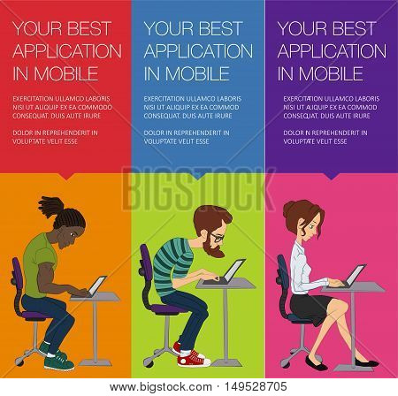 Vector banner with working people on laptop. Vector woman and man sitting at laptop. Set of vertical colorful banner. Cartoon character typing on computer on Hackathon. Web banner with ballon talk