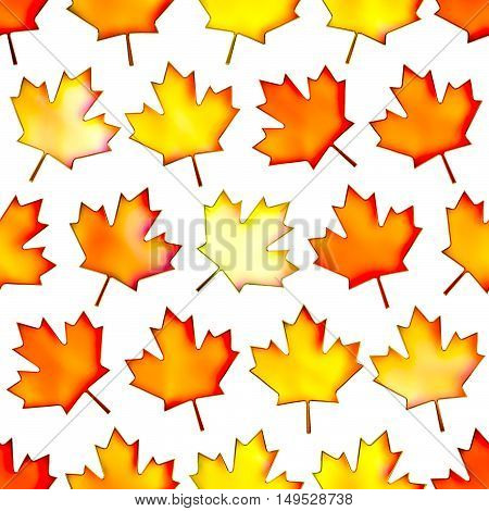 Seamless colorful maple-leaf texture Isolation on a white background.