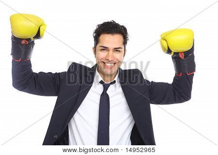 Winning Businessman With Boxing Gloves