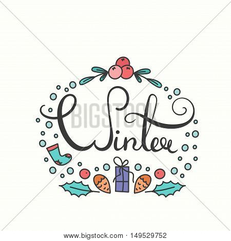 Winter Poster with Lettering. Typographic Background with Winter Season Greetings. Snowflakes in Line Art Style. Illustration for Congratulation Card and Print.