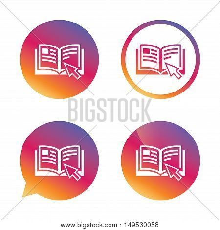 Instruction sign icon. Manual book symbol. Read before use. Gradient buttons with flat icon. Speech bubble sign. Vector