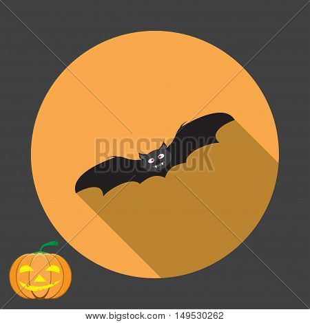 Vector isolated icon of black bat with shadow for Halloween