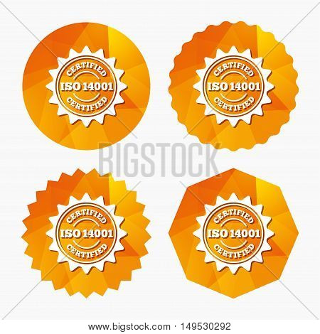 ISO 14001 certified sign icon. Certification star stamp. Triangular low poly buttons with flat icon. Vector