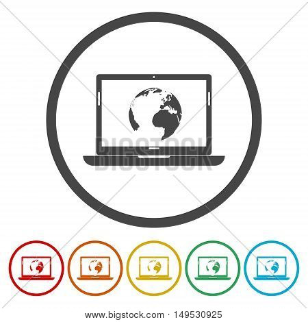 Global Network - laptop and the world icon set on white background