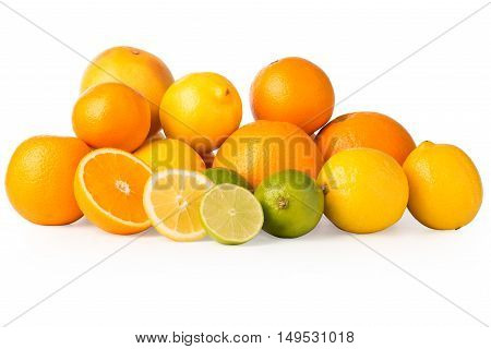 Cutout Of A Collection Of Citrus Fruits And Slices