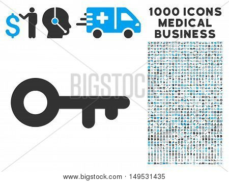 Key icon with 1000 medical commerce gray and blue glyph pictographs. Collection style is flat bicolor symbols white background.