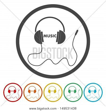 Vector illustration of a headphone icon on white background