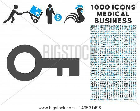 Key icon with 1000 medical business gray and blue glyph pictograms. Collection style is flat bicolor symbols white background.