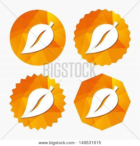 Leaf sign icon. Fresh natural product symbol. Triangular low poly buttons with flat icon. Vector