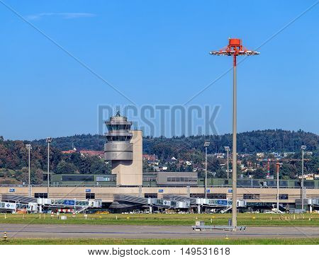 Kloten, Switzerland - 29 September, 2016: view in the Zurich Airport. Zurich Airport, also known as Kloten Airport, is the largest international airport of Switzerland and the principal hub of Swiss International Air Lines.