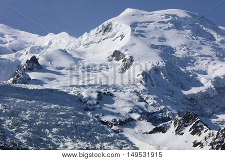 Mont Blanc Summit from Chamonix. France. Europe