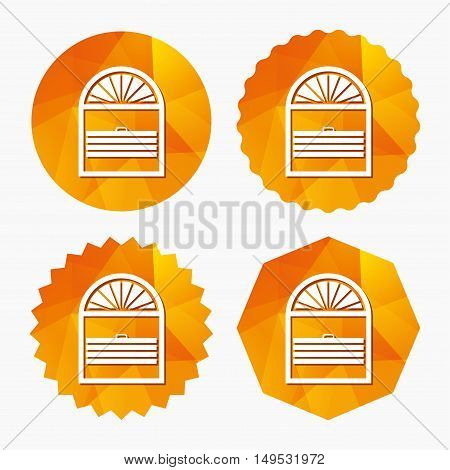 Louvers plisse sign icon. Window blinds or jalousie symbol. Triangular low poly buttons with flat icon. Vector
