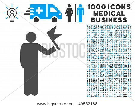 Man With Flag icon with 1000 medical commerce gray and blue glyph pictographs. Collection style is flat bicolor symbols white background.