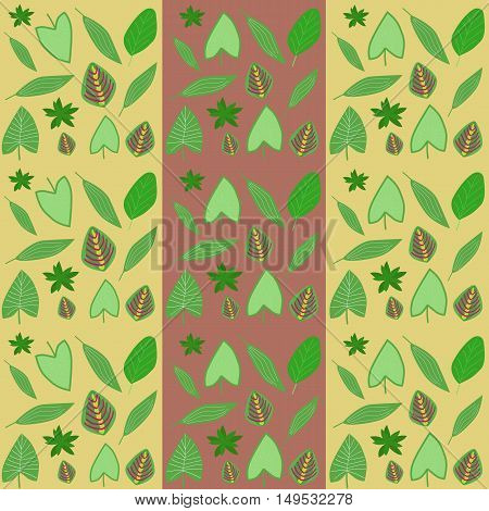 set of three seamless patterns. tropical leaves on a yellow and brown background