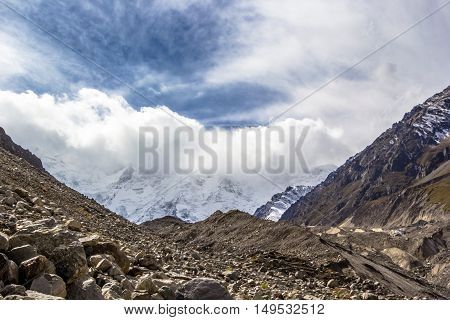 mountain landscape, gorge, wild nature, cloudy sky