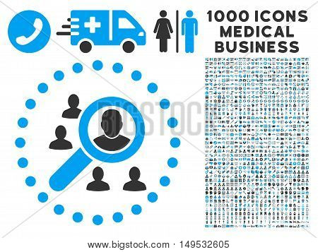 Marketing icon with 1000 medical business gray and blue glyph pictographs. Collection style is flat bicolor symbols white background.