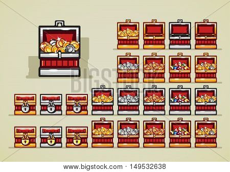 Set of red chests with coins and gems for creating video game