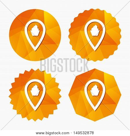 Map pointer food sign icon. Restaurant location marker symbol. Triangular low poly buttons with flat icon. Vector