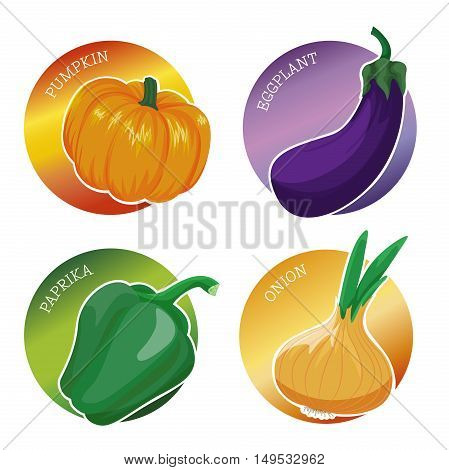 Set of stickers with vegetables: pumpkin eggplant paprika onion