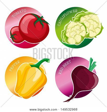 Set of stickers with vegetables: tomato cauliflower peppers beets