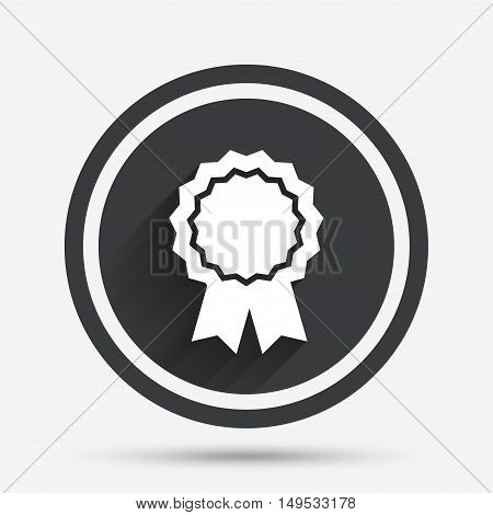 Award medal icon. Best guarantee symbol. Winner achievement sign. Circle flat button with shadow and border. Vector