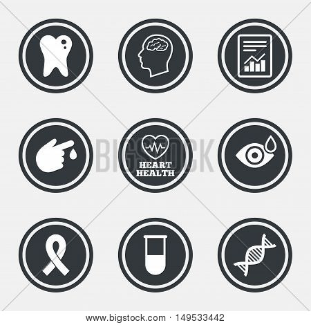 Medicine, medical health and diagnosis icons. Blood test, dna and neurology signs. Tooth, report symbols. Circle flat buttons with icons and border. Vector