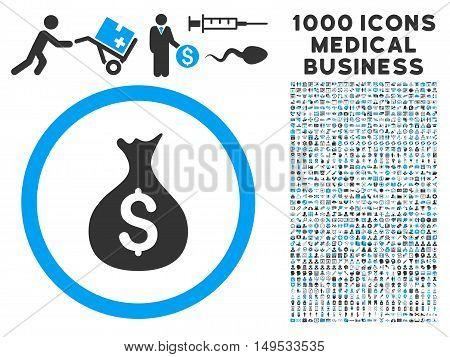 Money Sack icon with 1000 medical business gray and blue glyph pictographs. Clipart style is flat bicolor symbols, white background.