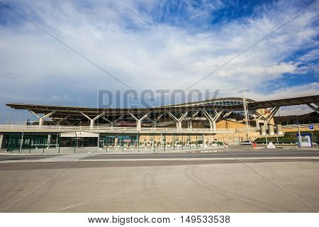 Sochi, Russia - November 12, 2014: Venue Winter Olympic Games 2014, Olympic park railway station