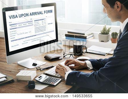 Visa Upon Arrival Form Immigration Concept