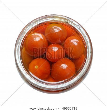 Marinated tomatoes in the round pot isolated