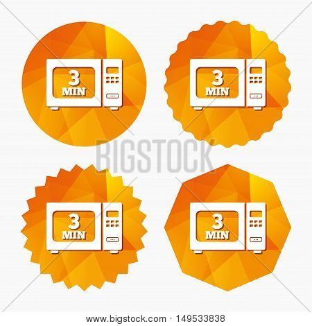 Cook in microwave oven sign icon. Heat 3 minutes. Kitchen electric stove symbol. Triangular low poly buttons with flat icon. Vector