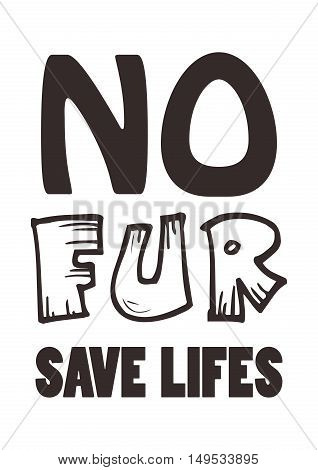 No fur sign in vector, ethical signature for any design.