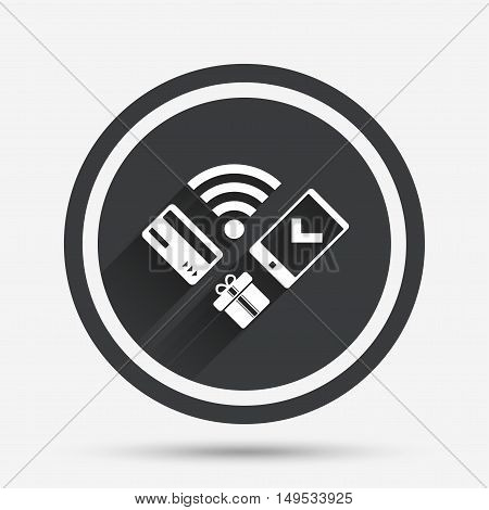 Wireless mobile payments icon. Smartphone, credit card and gift symbol. Circle flat button with shadow and border. Vector