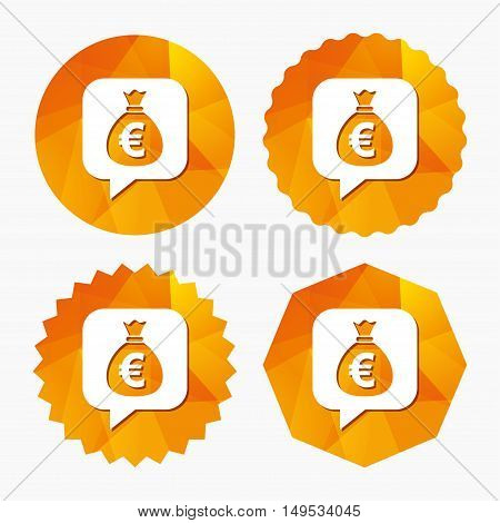 Money bag sign icon. Euro EUR currency speech bubble symbol. Triangular low poly buttons with flat icon. Vector