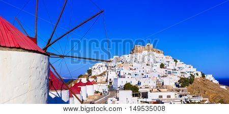 Authentic Greece - Astypalea island. View of Chora and windmills