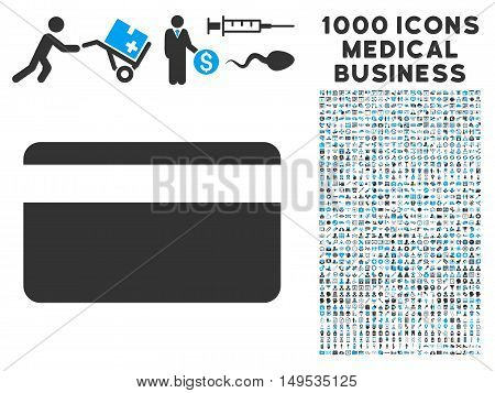 Plastic Card icon with 1000 medical commerce gray and blue glyph design elements. Clipart style is flat bicolor symbols, white background.