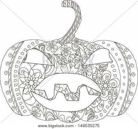 Pumpkin sketch for Halloween, thin line black ornament on white, coloring page anti stress, vector illustration