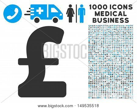 Pound Sterling icon with 1000 medical commerce gray and blue glyph pictographs. Collection style is flat bicolor symbols, white background.