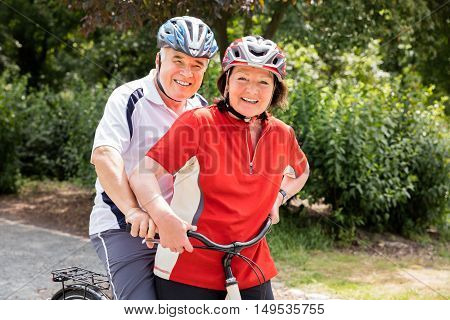 Portrait Of Happy Senior Couple With Bicycle In Park
