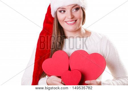 Girl Santa Helper Hat Holds Heart Shaped Gift Boxes