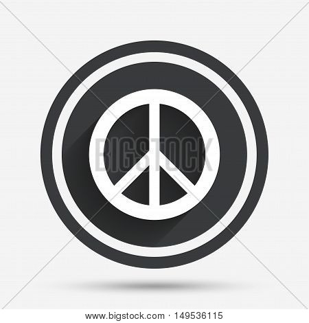 Peace sign icon. Hope symbol. Antiwar sign. Circle flat button with shadow and border. Vector