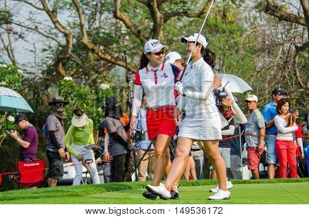 CHONBURI - FEBRUARY 28 : Hee Young Park and Xi Yu Lin in Honda LPGA Thailand 2016 at Siam Country Club Pattaya Old Course on February 28 2016 in Chonburi Thailand.