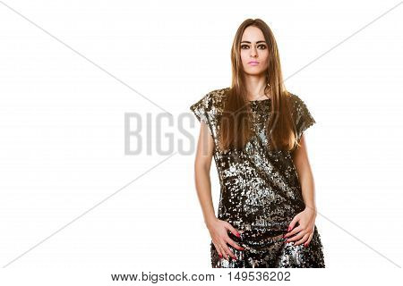 Portrait Brunette Woman With Dark Makeup