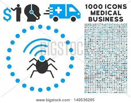 Radio Spy Bug icon with 1000 medical commerce gray and blue glyph design elements. Design style is flat bicolor symbols, white background.