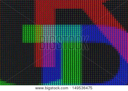 A closeup view of a computer display showing a pattern of red, green and blue LEDs forming the letters RGB.