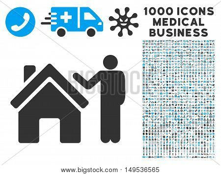Realty Buyer icon with 1000 medical business gray and blue glyph design elements. Set style is flat bicolor symbols, white background.