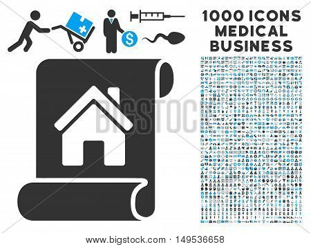 Realty Description Roll icon with 1000 medical commerce gray and blue glyph design elements. Collection style is flat bicolor symbols, white background.