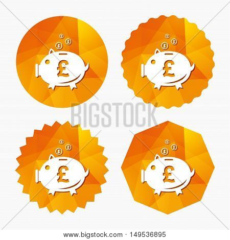 Piggy bank sign icon. Moneybox pound symbol. Triangular low poly buttons with flat icon. Vector