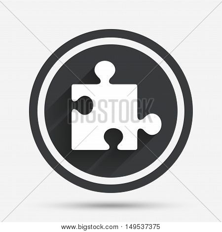 Puzzle piece sign icon. Strategy symbol. Circle flat button with shadow and border. Vector