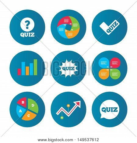 Business pie chart. Growth curve. Presentation buttons. Quiz icons. Speech bubble with check mark symbol. Explosion boom sign. Data analysis. Vector